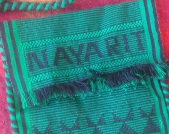 SALE Green cloth bag ethnic Nayarit fringe