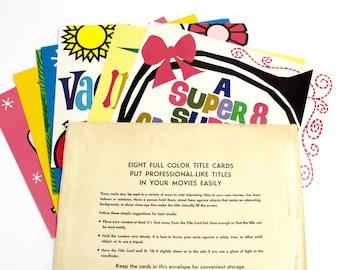 Vintage 1970s Super 8 Title Cards, Set of  Eight in Original Envelope, Cue Cards, Movie Editing, Super 8, 1970s Graphics, Ephemera, Epsteam