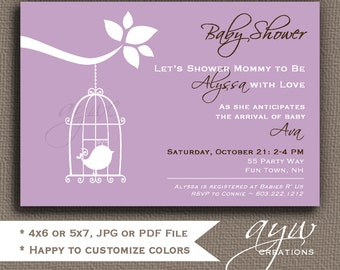 Bird Baby Shower Invitation Girl Invitation Bird Baby Shower Invitations Printable Invitation Printable Baby Shower Invitations Birds Shower