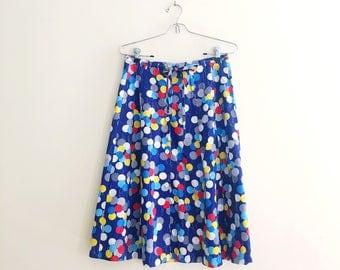 Vintage Balloon Print Skirt // Full Button Down Skirt // Novelty Print Cotton Tie Waist Skirt // Prinary Colors // Festival // 70s