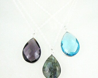 Bezel Gemstone Pendant Necklace -Gemstone Necklace with Sterling Silver Chain - Teardrop Gemstone Pendant Necklace - All Stones - 611110