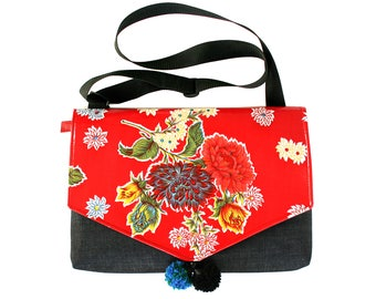 SALE! Red oil cloth, floral, laptop bag, Messenger bag, cross body bag