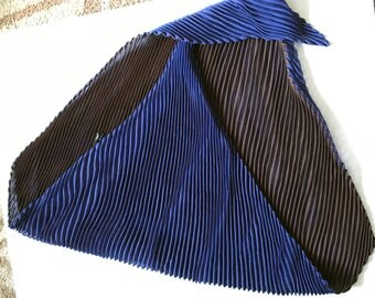 Pleated scarf royal blue and chocolate brown