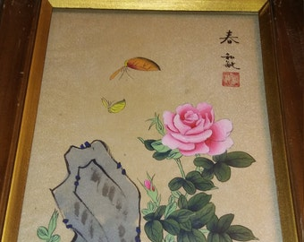 Vintage Chinese Silk Watercolor Ink Brushed Scroll ..In Wood Frame Signed By Artist  Back Sealed