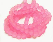 1 of 31 inch strand 8mm glass  frosted glass beads-over 100 beads-8114a