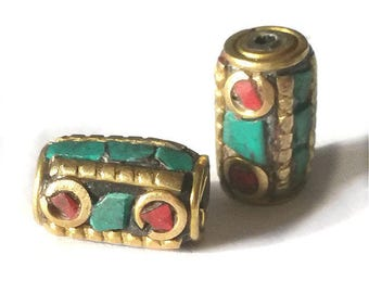 2 pieces 13x8mm Tibetan Brass Bead with Turquoise and Coral Inlay - OFF65
