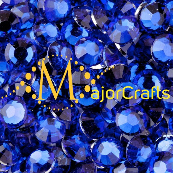 Dark Blue Flat Back Round Resin Rhinestones Embellishment Gems C36