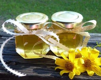 Raw Honey Bridal Shower Wedding Favors 2oz Jars 48 Edible Raw Honey Favors Golden Wedding Favors Wildflower Reception Honey Wedding Gift