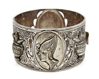Egyptian Bracelet, Queen Cleopatra Wide Bangle, Art Deco Egypt Cuff, Bold Silver Repousse, Chunky Large Hinged Bracelet, African Jewelry