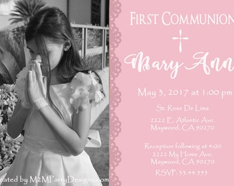 First Communion Invitation -Photo Printable Print at Home Personalized (Digital File) DIY
