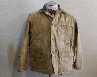 Men's Vintage Rugged 1960's Beige American Field The Hettrick Mfg Co. Tin Cloth Hunting Jacket Sz-L