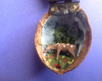 Miniature Deer in a Walnut Shell Folk Art Diorama