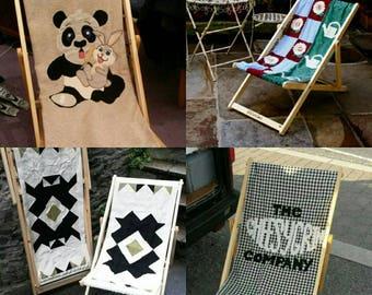 Custom Design Deck Chair Personalised Recliner Folding Timber Frame Bye Brytshi