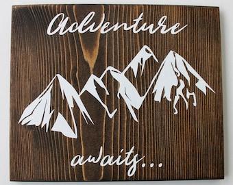 CLEARANCE Wood Mountain, Wood Mountain Wall Art, Mountain Decor, Mountain Landscape, Mountain Nursery, Mountain Range, Adventure Awaits