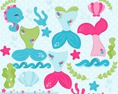 80% OFF - INSTANT DOWNLOAD - Mermaid Clipart and Vectors for personal and commercial use