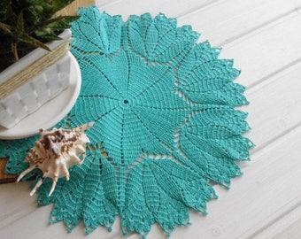 Large crochet doily Lace doilies Table decoration Turquoise doilies Blue cotton lace doily Blue tablecloth with flowers Decor tulips 349