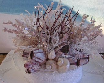 Starfish Seashell Coral Beach Wedding Cake Topper~Pink Purple Coral Cake Topper