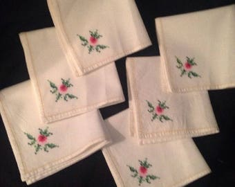 6 Vintage Flower Rose Cross Stitch Napkins 11 X 11