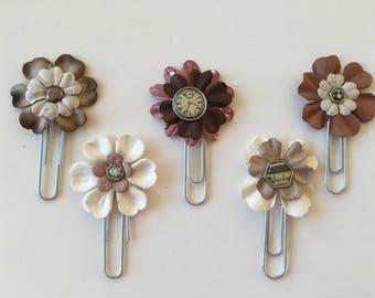 Flower Paper Clips Beige & Tan journal accessories planner accessories bookmark