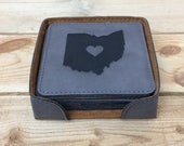 Gray Engraved Coaster Set with holder - Square Coaster, State Coaster, Laser Engraved, Housewarming Gift, Realtor gift