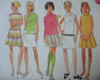 vintage 1960s Butterick sewing pattern 4900 junior size 9/10 low waisted dress with pleated or A line skirt