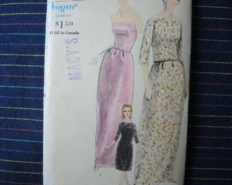 vintage 1960s Vogue sewing pattern 5704 misses evening dress  jacket and petticoat size 12 UNCUT
