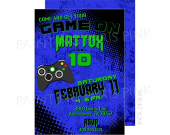 Video Game Birthday Party Invitation | Printable OR Professionally Printed | 5x7