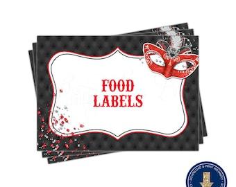 Red Masquerade Food Label Tent Cards | Printable | Instant Download | | Mardi Gras | Sweet 16 | Quinceañera