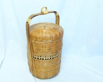 Vintage Asian bento box…hand made Asian lunchbox…wicker bento box...rattan bento box...bamboo bento box.