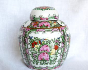 Vintage Chinese ginger jar…Famille Rose ginger jar...Stanley...hand decorated in Hong Kong....Qing Dynasty style...1950s.