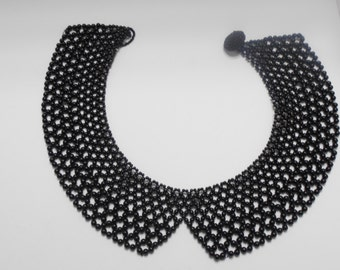 Vintage Black Beaded Peter Pan Collar Necklace (3431)