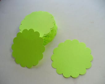 Bright Green Scalloped Circle Die Cuts, Paper Craft, Price Tag, Card Making, Scrapbook, Gift Tag, Scalloped Paper Tags, Neon Green