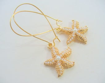 Gold and Pearl Starfish Dangle Earrings, Starfish Earrings, Pearl Earrings, Summer Wedding, Beach Earrings, Ocean Earrings, Summer Earrings