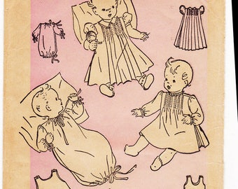 FF RARE 40s Baby Infant Heirloom Dress w/ Bonnet & Slip Make for Baptismal or Christening Gown [Advance 2415] Kimono Sleeper Moccasins UNCUT