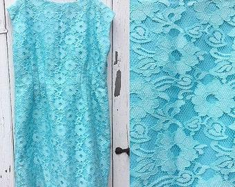 Vintage Baby Blue Lace Shift Dress
