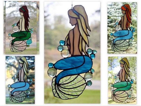 Stained Glass Mermaid Panel, Custom Colors