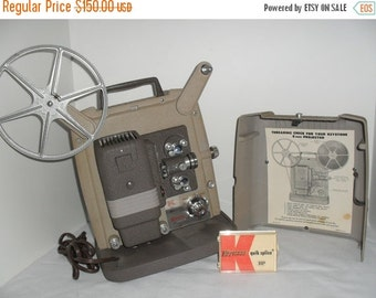 ON SALE Vintage DeJur 8mm Model 750 Silent Film Movie Projector. Variable Speed, Hard Case, Original Manual, Oil & Reel.  Serviced and ready