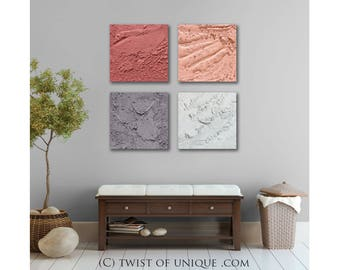 Textured Abstract Painting / CUSTOM 4 painting set  /15 x 15 / palette knife painting / concrete wall art / Coral, pink, gray, white