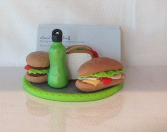Polymer clay sandwich shop business card holder,handmade with polyme clay, deli card holder, office