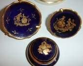 Limoges collection, 3 items, Ring holder, trinket box, small plates, collection of 3, Made in France Limoges porcelain, French, Cobalt blue
