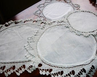 Doilies, French White Lot of Doilies, Four Doilies, Victorian decor, Antique decor, Linen doilies, hand crochted edging, Round doilies