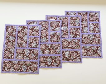 Hydrangea print fabric placemats, A set of four placemats, quilted palcemats, red and purple placemats