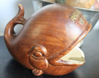 Vintage Brown Whale Cigar Ashtray or catch all, For the Whale of A Guy, Gift for him, Cigar Ash Tray, Whale ash Tray, Ceramic Cigar ashtray