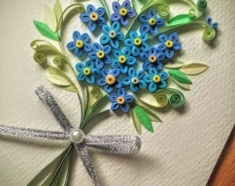 Paper Quillied Forget me not Flower Bouquet - Wedding card,love ,Mothers day, Birthday,Congratulations ,Anniversary Card,Paper Quilling Art