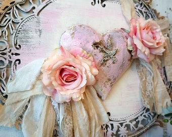 Pink puffy heart plaque roses handmade wall hanging shabby chic wooden art piece rhinestone bird embellished home decor anita spero design