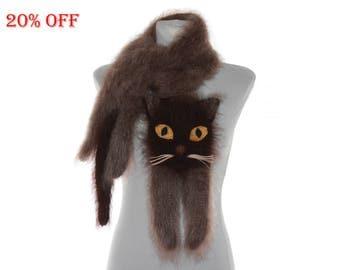 SALE 20 % OFF / Burmese cat Knitted Scarf / Fuzzy Soft Scarf /  brown scarf / knited cat scarf / animal scarf /  custom pet portrait