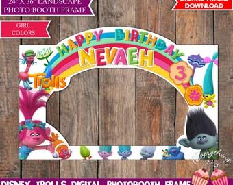 Trolls Birthday Photo Booth Frame LANDSCAPE Digital, Photo Prop Girl Colors Digital Download