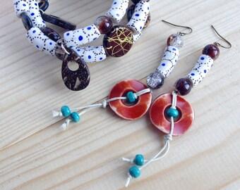 Brown Blue Ethnic jewelry set earrings bracelet African bead Tribal Jewellery