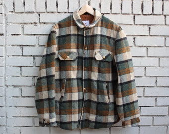 Vintage GREEN/BROWN Plaid Jacket Lined Soft Thick Warm Outdoor Winter Clothing Cold Weather