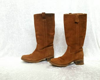 BROWN SUEDE BOOTS Boho Boots Slouch Boots Vintage Suede Boots Heels Boots Womens Brown Boots Vintage Boots Bohemian Boots Size 8